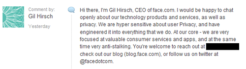 A Response from the CEO of Face.com – And My Questions for Him